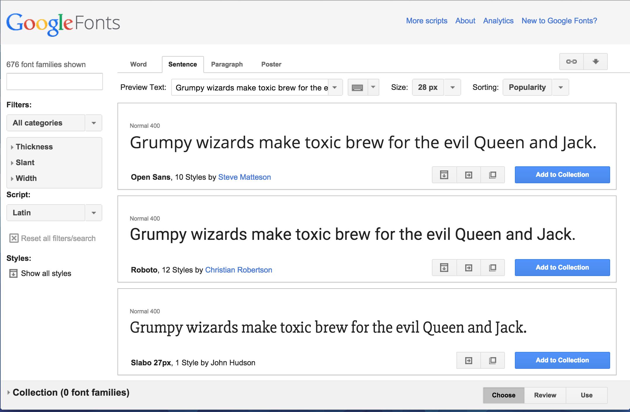 el interfaz de Google Fonts en el curso de programación desde cero de Incoming Startup